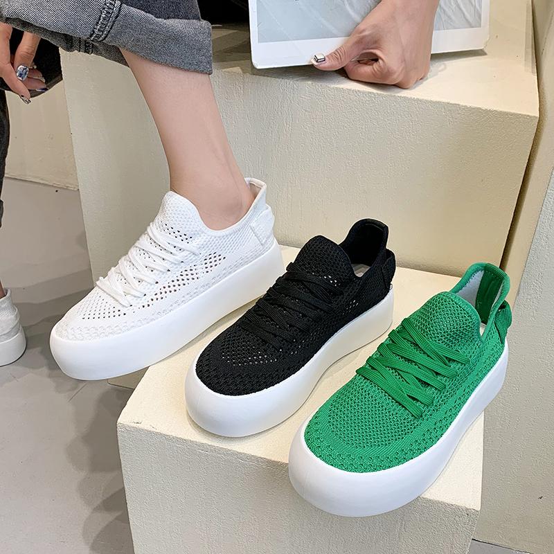 绿色松糕鞋 春季透气小白鞋女2021夏季薄款绿色网面休闲单鞋浅口松糕厚底板鞋_推荐淘宝好看的绿色松糕鞋
