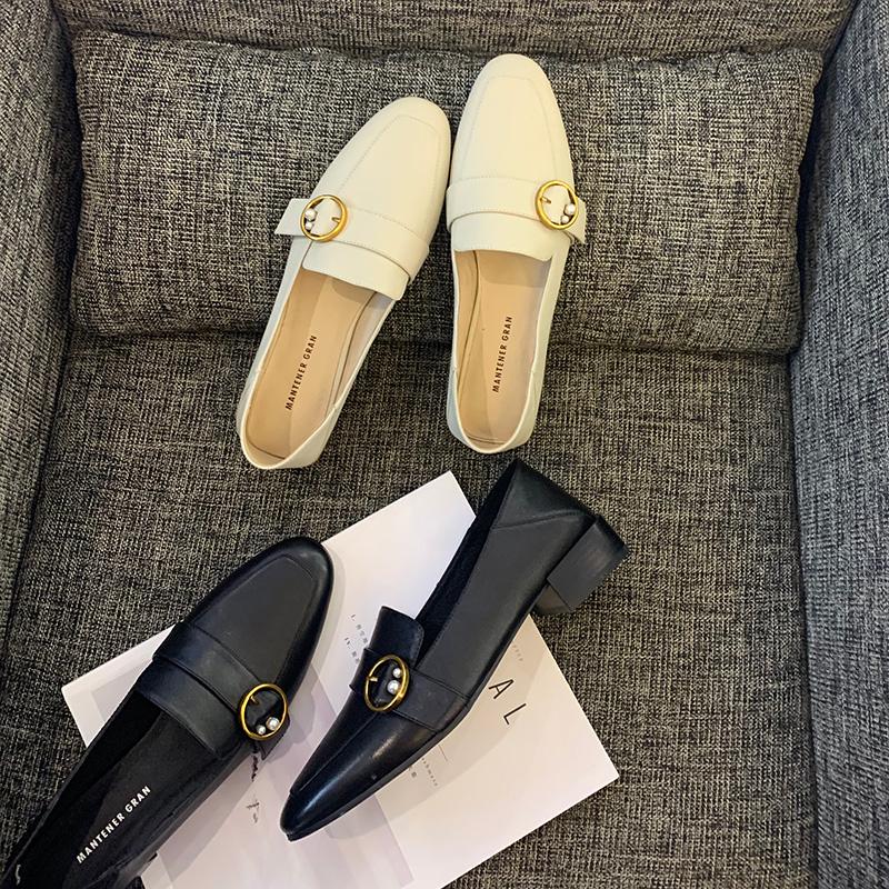 白色单鞋 软皮乐福鞋女两穿中跟单鞋春秋白色一脚蹬真皮2021新款小码小皮鞋_推荐淘宝好看的白色单鞋