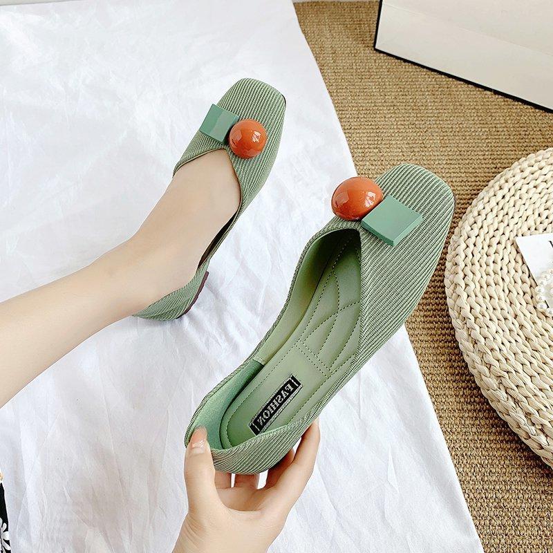 绿色豆豆鞋 豆豆鞋夏季2021年新款女绿色软底方头浅口一脚蹬青年柔软孕妇单鞋_推荐淘宝好看的绿色豆豆鞋