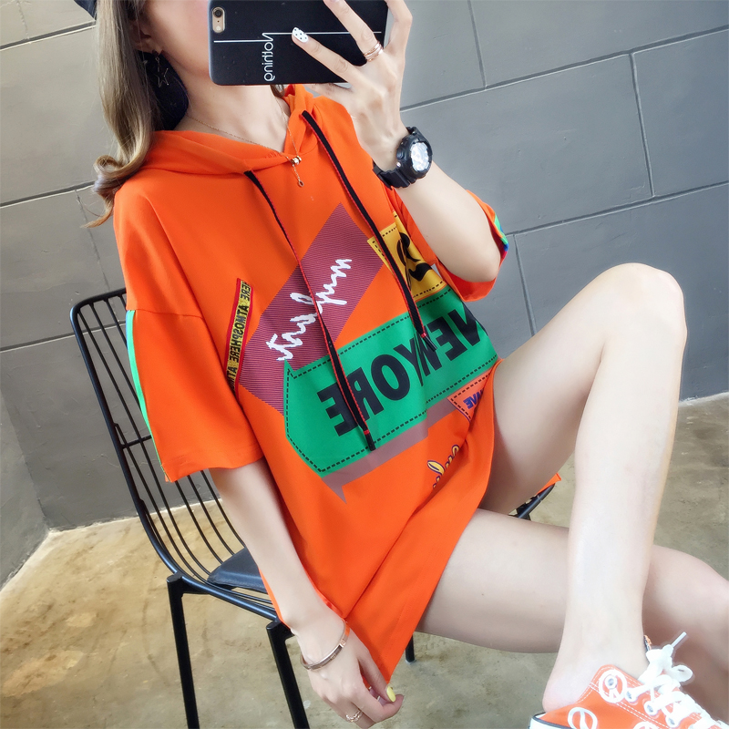 春装 连帽短袖t恤女士2020年夏季韩版宽松网红超火橙色上衣服ins潮春装_推荐淘宝好看的春装