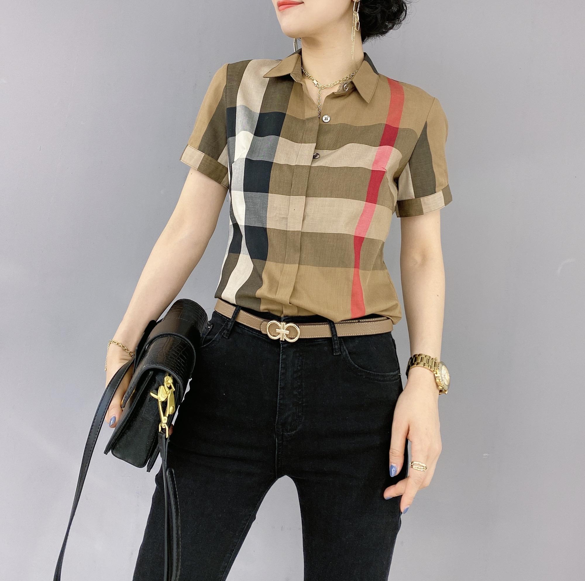 女格子衬衫 新款格子短袖纯棉衬衫女士气质衬衣正品欧货_推荐淘宝好看的女格子衬衫