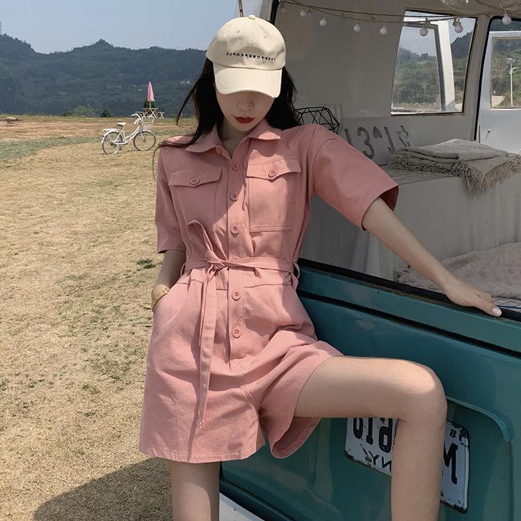 粉红色休闲裤 2021年夏季新款高腰带粉红色薄款休闲松紧腰减龄运动风连衣裤短裤_推荐淘宝好看的粉红色休闲裤