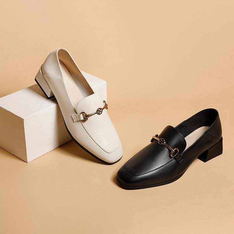 她他单鞋 2020秋冬新款意合 他她欧美英伦乐福鞋真皮粗跟中跟女鞋单鞋3FV21_推荐淘宝好看的她他单鞋