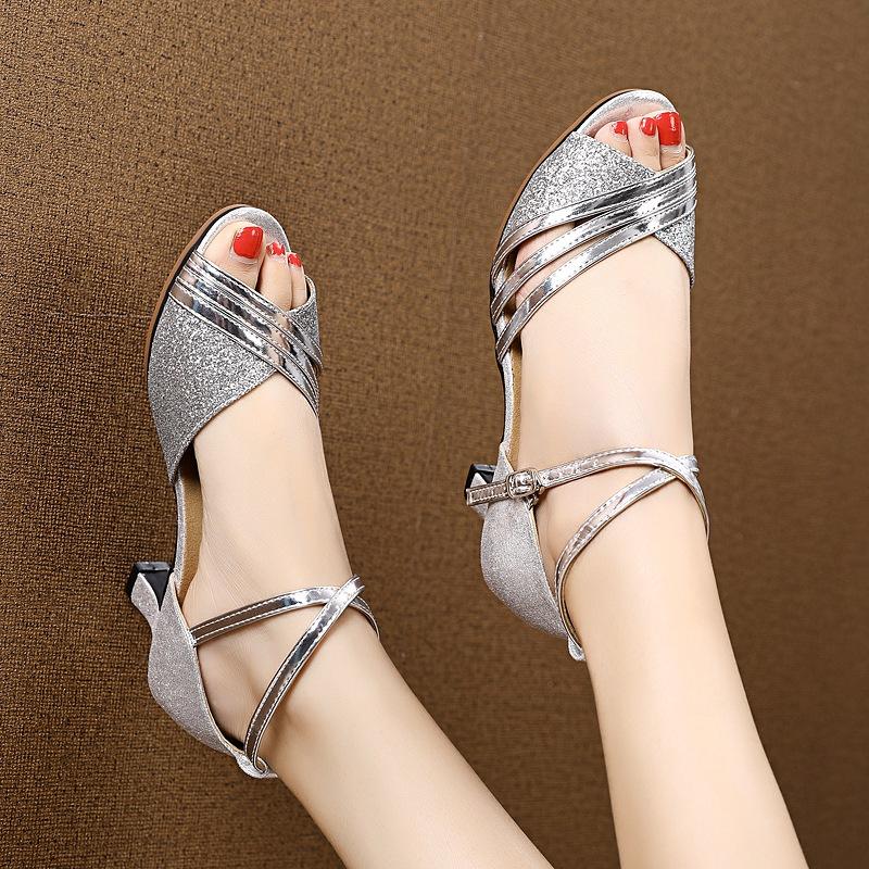 新款女士高跟凉鞋 新款夏季拉丁舞鞋成年女士软底时尚外穿中高跟舞蹈鞋跳舞鞋女凉鞋_推荐淘宝好看的女新款高跟凉鞋