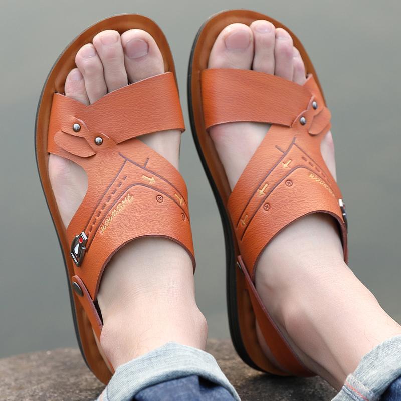 黄色鱼嘴鞋 男士37号小脚露趾沙滩鞋黄色配短裤两穿散步平底拖鞋旅游游玩凉鞋_推荐淘宝好看的黄色鱼嘴鞋
