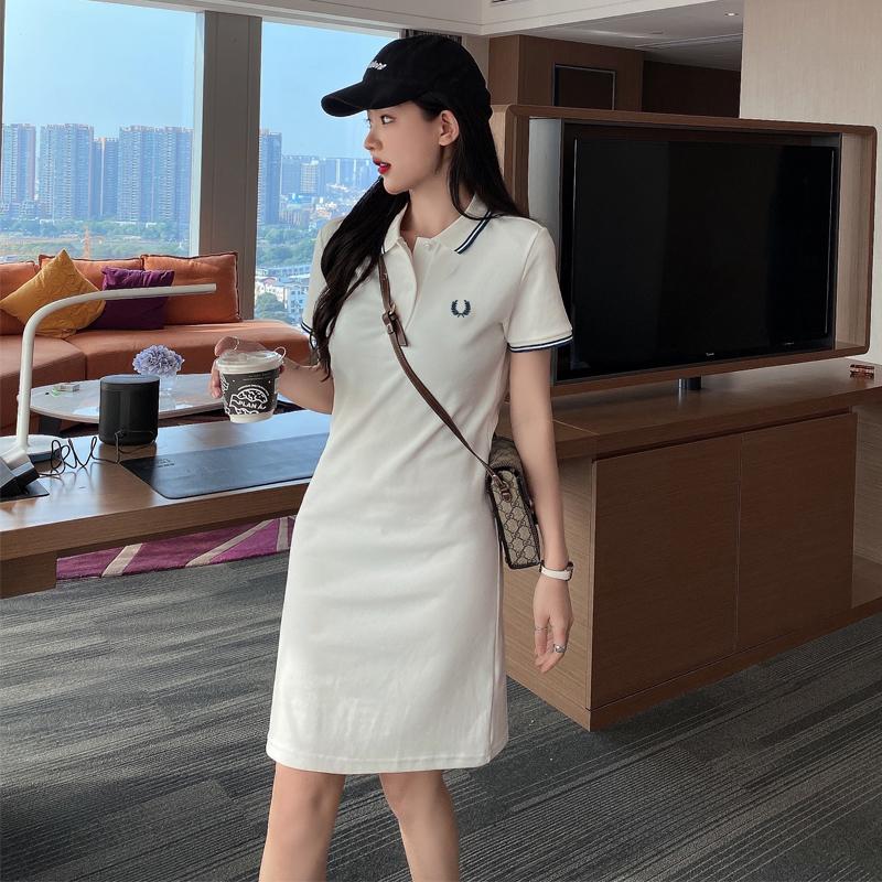 白色修身连衣裙 香香麦穗大码白色polo衫连衣裙长款夏季新款修身翻领小清新收腰裙_推荐淘宝好看的白色修身连衣裙