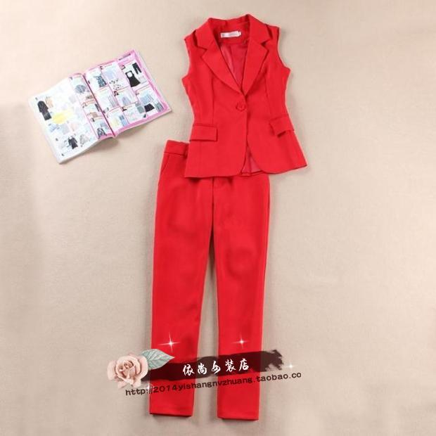 红色马甲 包邮欧美高端20新款时尚修身显瘦红色西装马甲九分裤两件套套装女_推荐淘宝好看的红色马甲