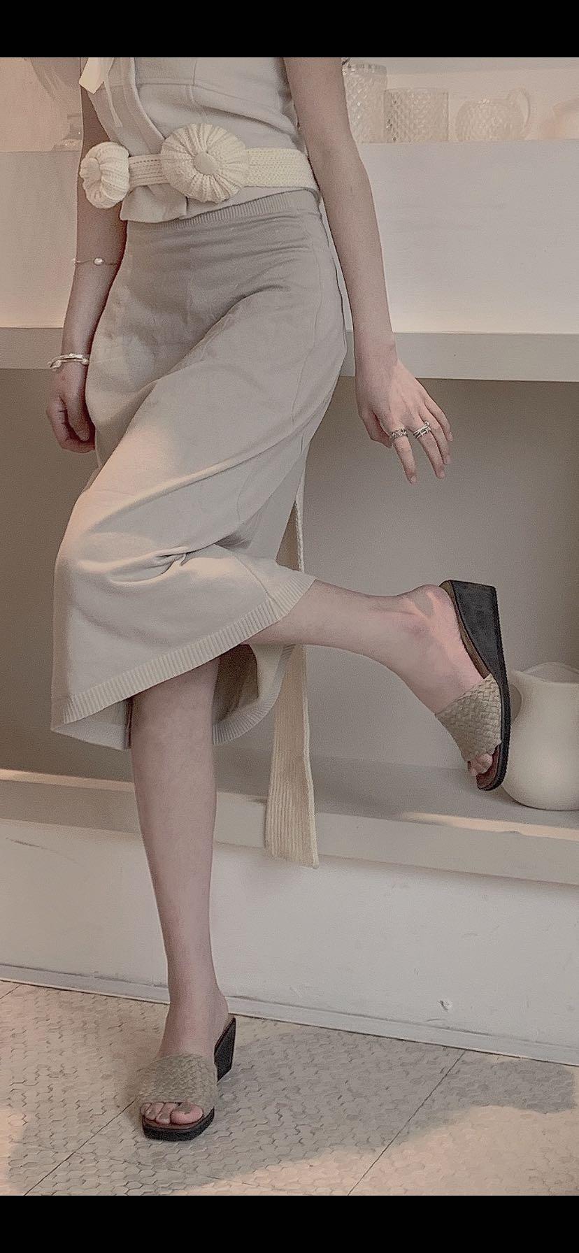 复古厚底鞋 baroccoshoes复古编织夏季一字带坡跟厚底女外穿拖鞋泡沫鞋底拖鞋_推荐淘宝好看的女复古厚底鞋