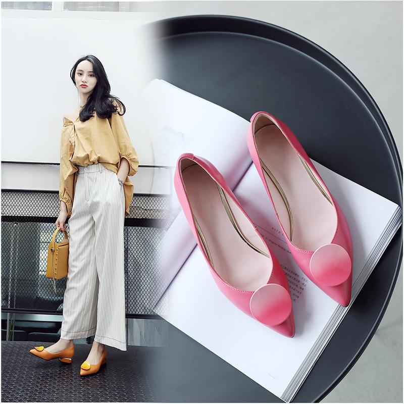 粉红色单鞋 春秋单鞋女2020新款真皮尖头3CM低跟粉红色小皮鞋温柔仙女鞋配裙_推荐淘宝好看的粉红色单鞋