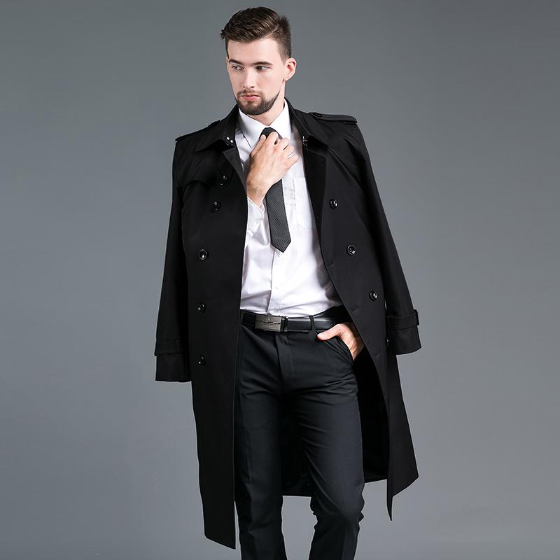 男士修身风衣 2021新款男春秋时尚修身双排扣加长款过膝男卡其色风衣英伦外套_推荐淘宝好看的男修身风衣