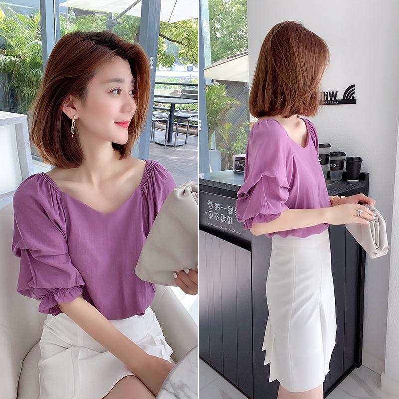 紫色衬衫 法式复古设计感方领泡泡袖紫色衬衫上衣欧洲站春夏女装2021新款潮_推荐淘宝好看的紫色衬衫