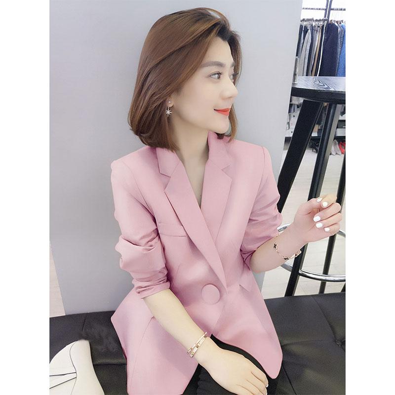 粉红色小西装 粉红色V领小西装收腰气质短外套女欧洲站秋季女装2021新款欧货潮_推荐淘宝好看的粉红色小西装