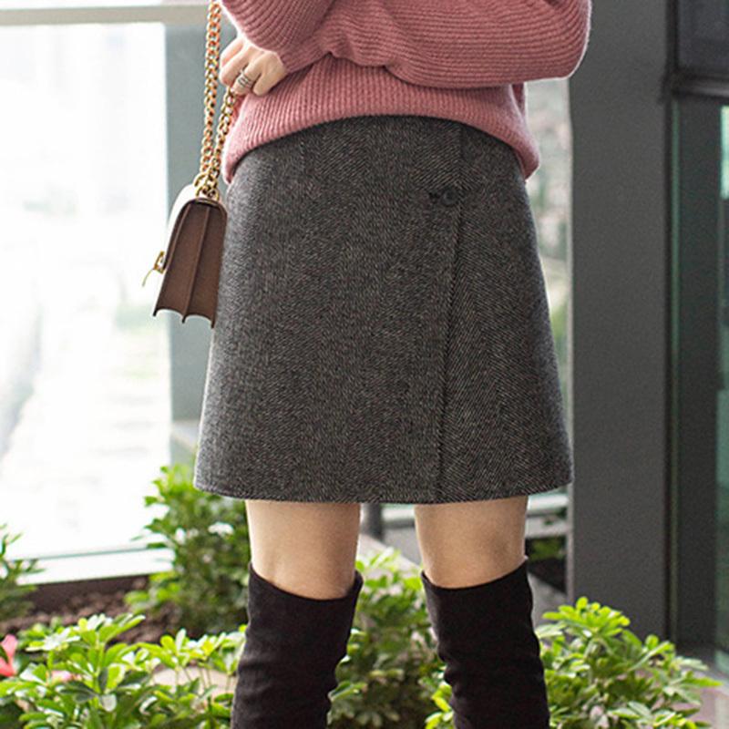 半身裙子 2020新款一片式百搭羊毛呢半身裙秋冬季女高腰显瘦a字气质短裙子_推荐淘宝好看的半身裙子