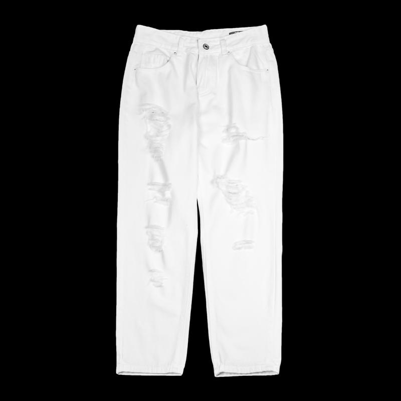 低腰直筒牛仔裤 美匠2018低腰显瘦破洞女式白牛仔直筒长裤EBW109002_推荐淘宝好看的女低腰直筒牛仔裤