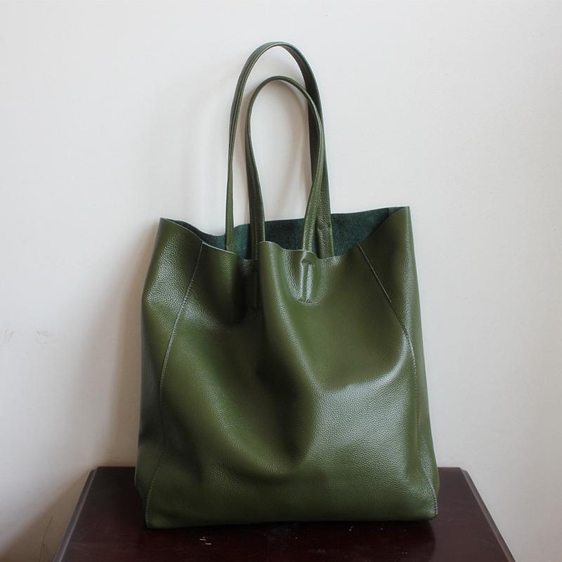 绿色复古包 欧美新款男女通用款头层牛皮包休闲大容量包复古简约军绿色单肩包_推荐淘宝好看的绿色复古包
