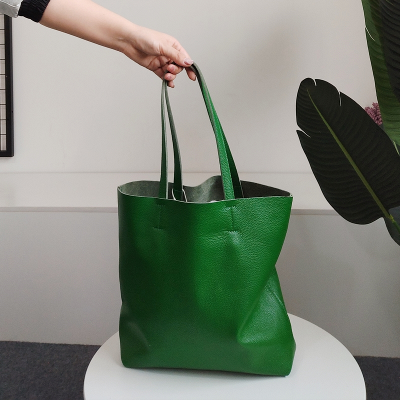 绿色手提包 新款欧美简约风头层牛皮托特包绿色手提单肩女包白色软皮大包包女_推荐淘宝好看的绿色手提包