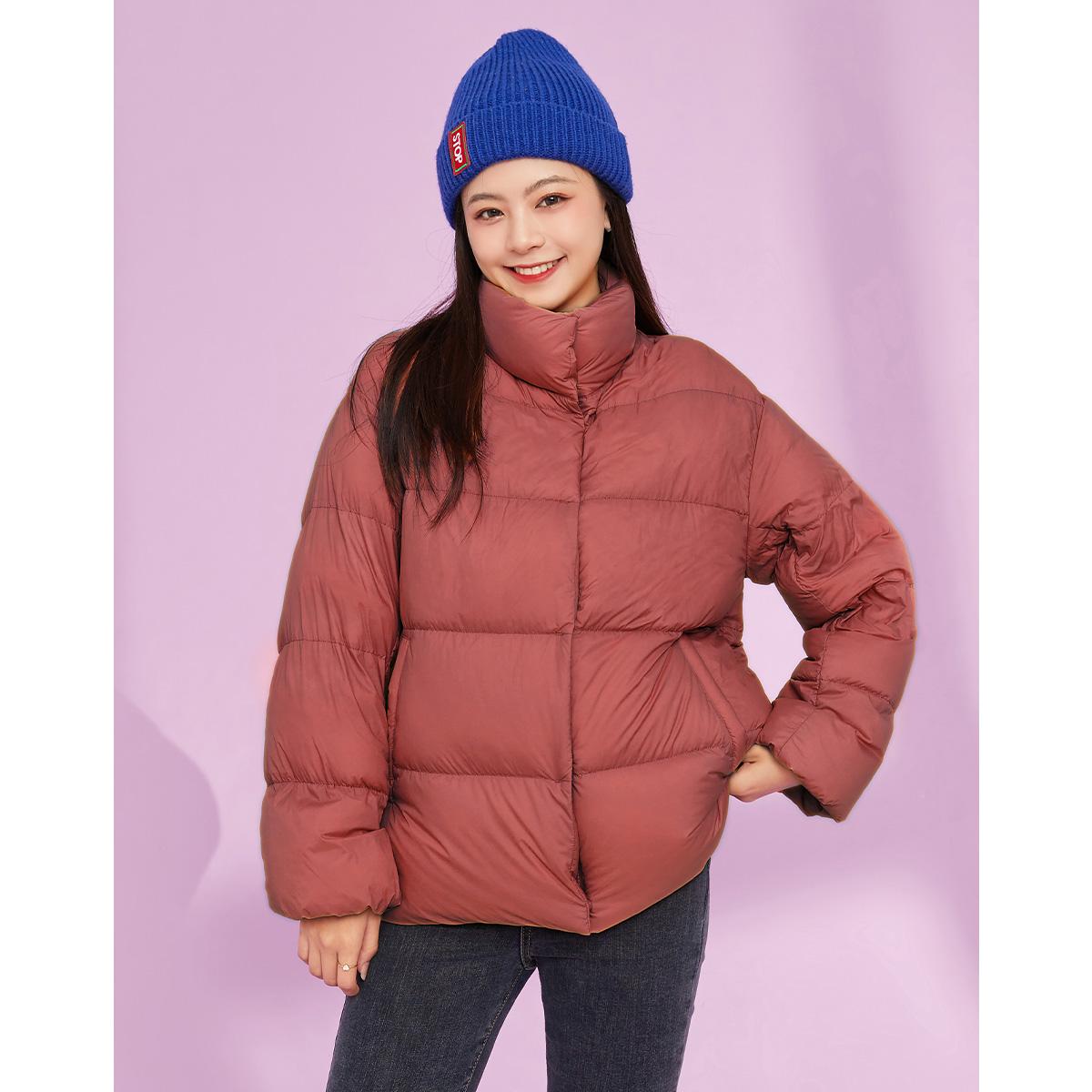 拉夏贝尔羽绒服 拉夏贝尔时尚气质短款羽绒服女2020年冬季新款小款立领面包服外套_推荐淘宝好看的女拉夏贝尔羽绒服