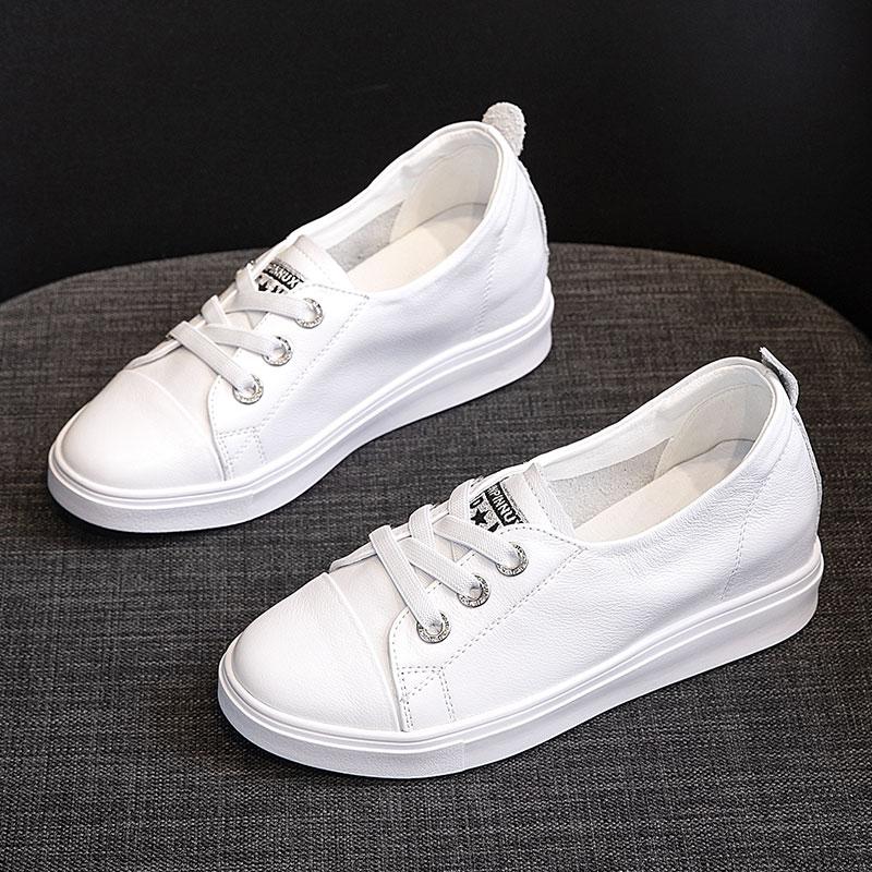 白色坡跟鞋 真皮内增高小白鞋女鞋子套脚增高一脚蹬女鞋白色坡跟春季皮面百搭_推荐淘宝好看的白色坡跟鞋