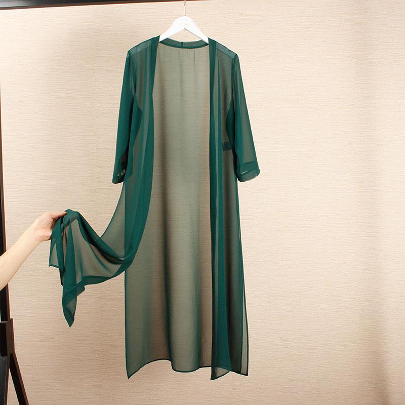 绿色雪纺衫 大码显瘦长款桑蚕丝披肩外搭真丝雪纺外披轻薄飘逸开衫防晒衫夏_推荐淘宝好看的绿色雪纺衫