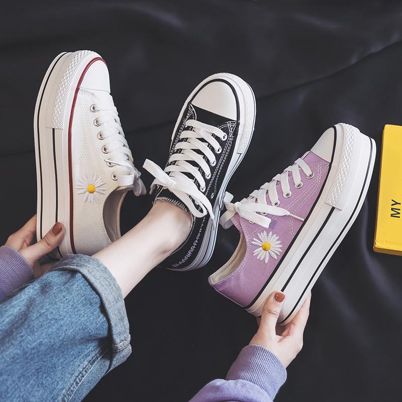 紫色松糕鞋 厚底增高新款透气帆布鞋女2020夏季雏菊紫色松糕鞋板鞋潮百搭单鞋_推荐淘宝好看的紫色松糕鞋