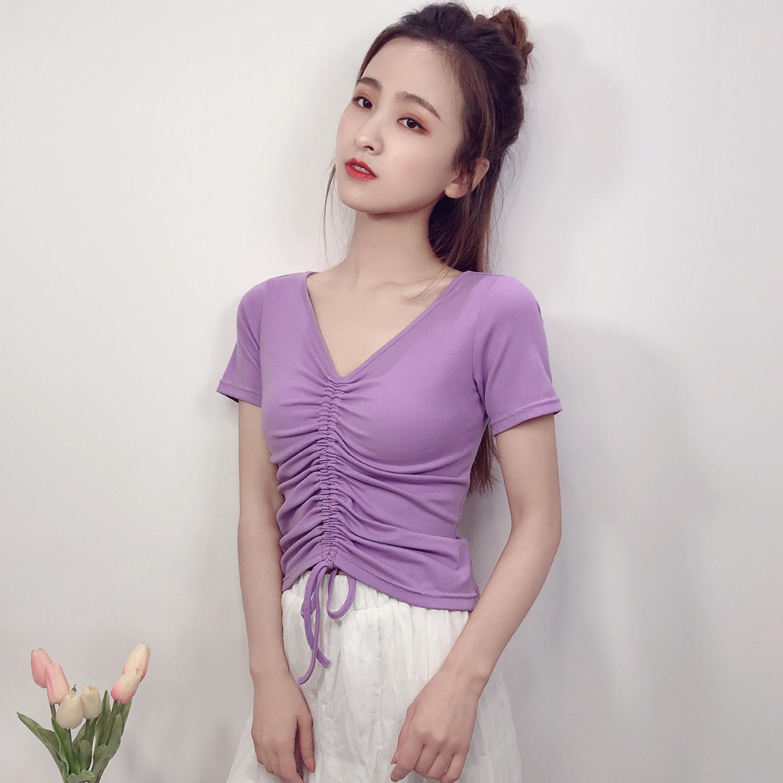 紫色T恤 2020夏高腰修身V领短袖T恤女短款香芋紫色显瘦抽绳紧身露肚脐上衣_推荐淘宝好看的紫色T恤