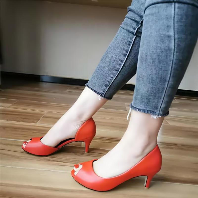 镂空鱼嘴鞋 新款红色中跟鱼嘴凉鞋舒适潮流高跟镂空女鞋百搭单鞋大码鞋结婚鞋_推荐淘宝好看的女镂空鱼嘴鞋