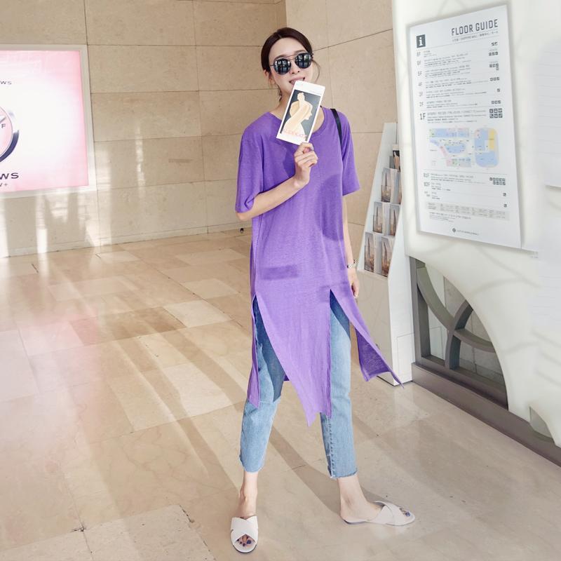 紫色T恤 紫色短袖女2021百搭韩版不规则中长款宽松t恤裙下摆开叉上衣学生_推荐淘宝好看的紫色T恤