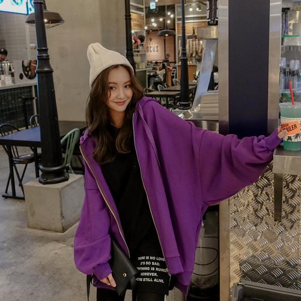 紫色卫衣 港风卫衣外套女2021春秋装新款宽松bf拉链连帽运动开衫学生紫色款_推荐淘宝好看的紫色卫衣