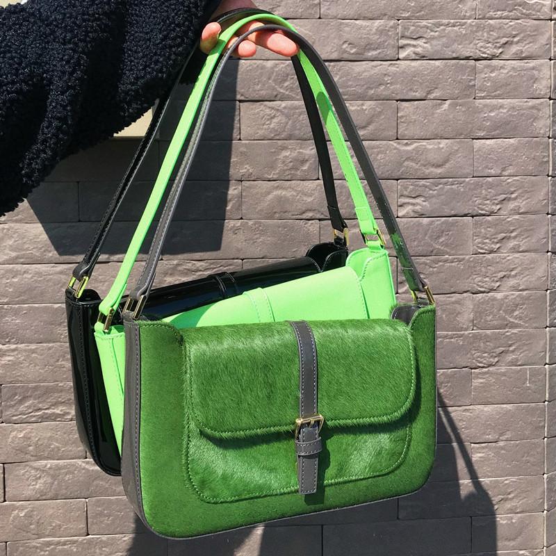绿色手提包 vintage手提包新款Miranda复古绿色马毛法棍包大王网红同款单肩包_推荐淘宝好看的绿色手提包