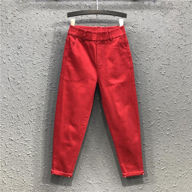红色牛仔裤 21春夏新款港味女潮休闲松紧腰牛仔哈伦裤大红色宽松显瘦小脚长裤_推荐淘宝好看的红色牛仔裤