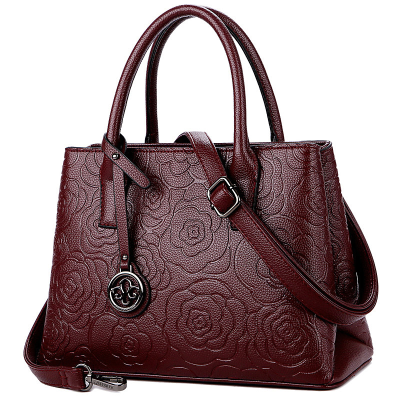 紫色手提包 2019新款真皮手提包妈妈款大容量牛皮斜挎包中年老年气质手拎女包_推荐淘宝好看的紫色手提包