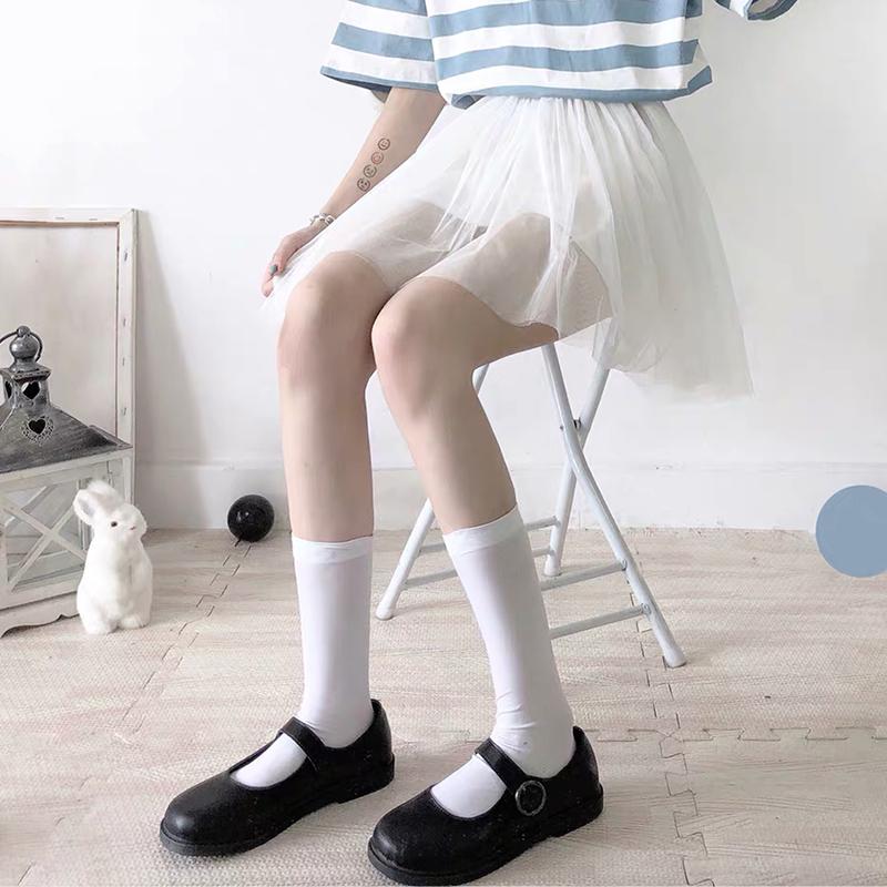 制服丝袜 150小个子小腿袜天鹅绒丝袜中长袜白色韩国中筒袜子女黑色jk制服_推荐淘宝好看的制服丝袜