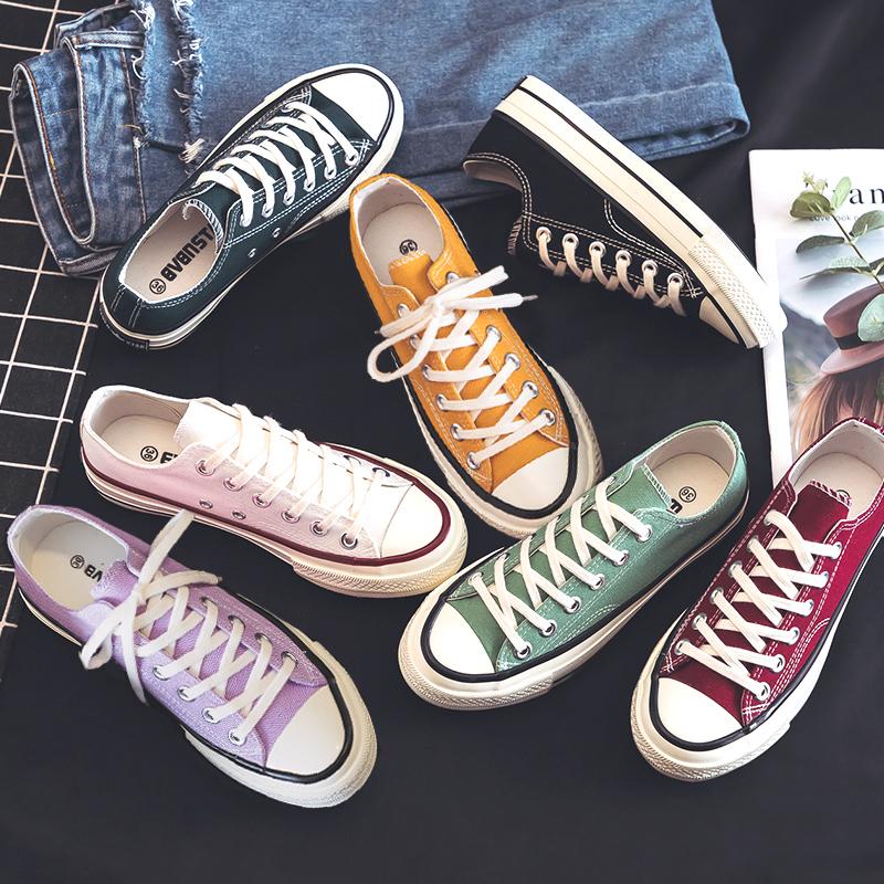 白色帆布鞋 白色帆布鞋女韩版低帮学生百搭2021年夏季新款布鞋小白板鞋ins潮_推荐淘宝好看的白色帆布鞋
