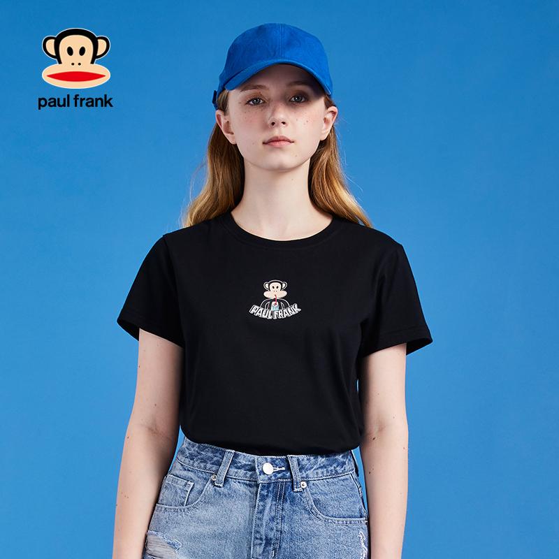 大嘴猴t恤 大嘴猴2020夏季新款短袖t恤女修身卡通印花黑色纯棉潮_推荐淘宝好看的女大嘴猴t恤