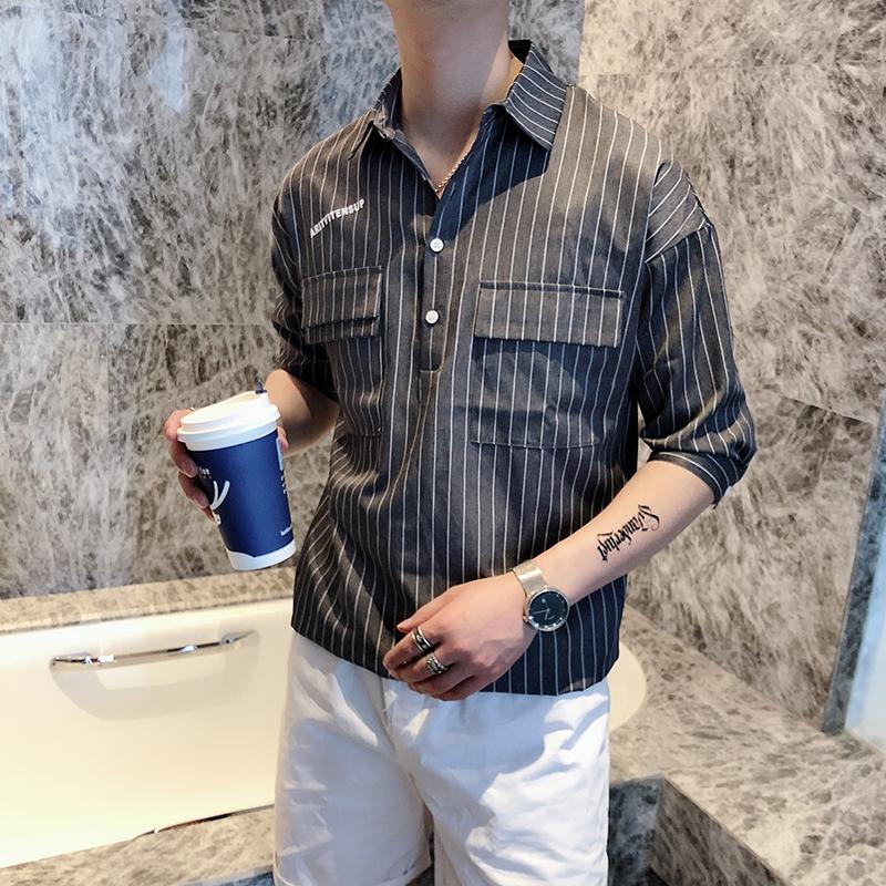 男装衬衫 ins韩版潮流字母印花中袖衬衫男2020夏季bf休闲套头条纹衬衫短袖_推荐淘宝好看的男衬衫