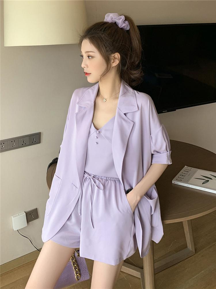 紫色小西装 小西装紫色短裤子套装女夏网红气质女神范时尚洋气西服吊带三件套_推荐淘宝好看的紫色小西装
