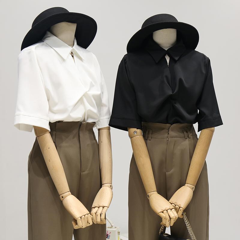 黑色雪纺衬衫 韩国夏季新款复古港味黑色雪纺衬衫女设计感小众V领短袖上衣ins潮_推荐淘宝好看的女黑色雪纺衬衫