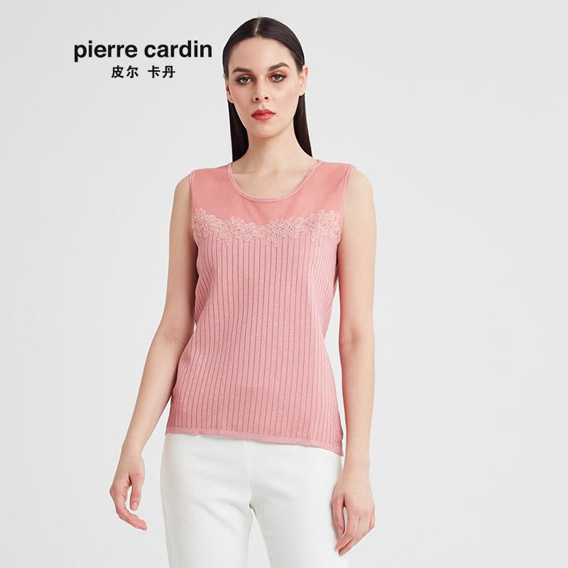 粉红色针织衫 皮尔卡丹女2020夏季新款粉红色无袖针织衫时尚淑女背心P91KW03F0_推荐淘宝好看的粉红色针织衫