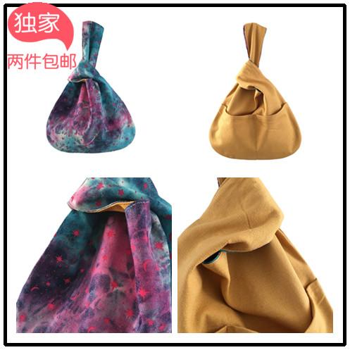 黄色手提包 原创手工蓝紫星月 水洗牛仔撞黄色日式手拎包袋 两面用特色小手提_推荐淘宝好看的黄色手提包
