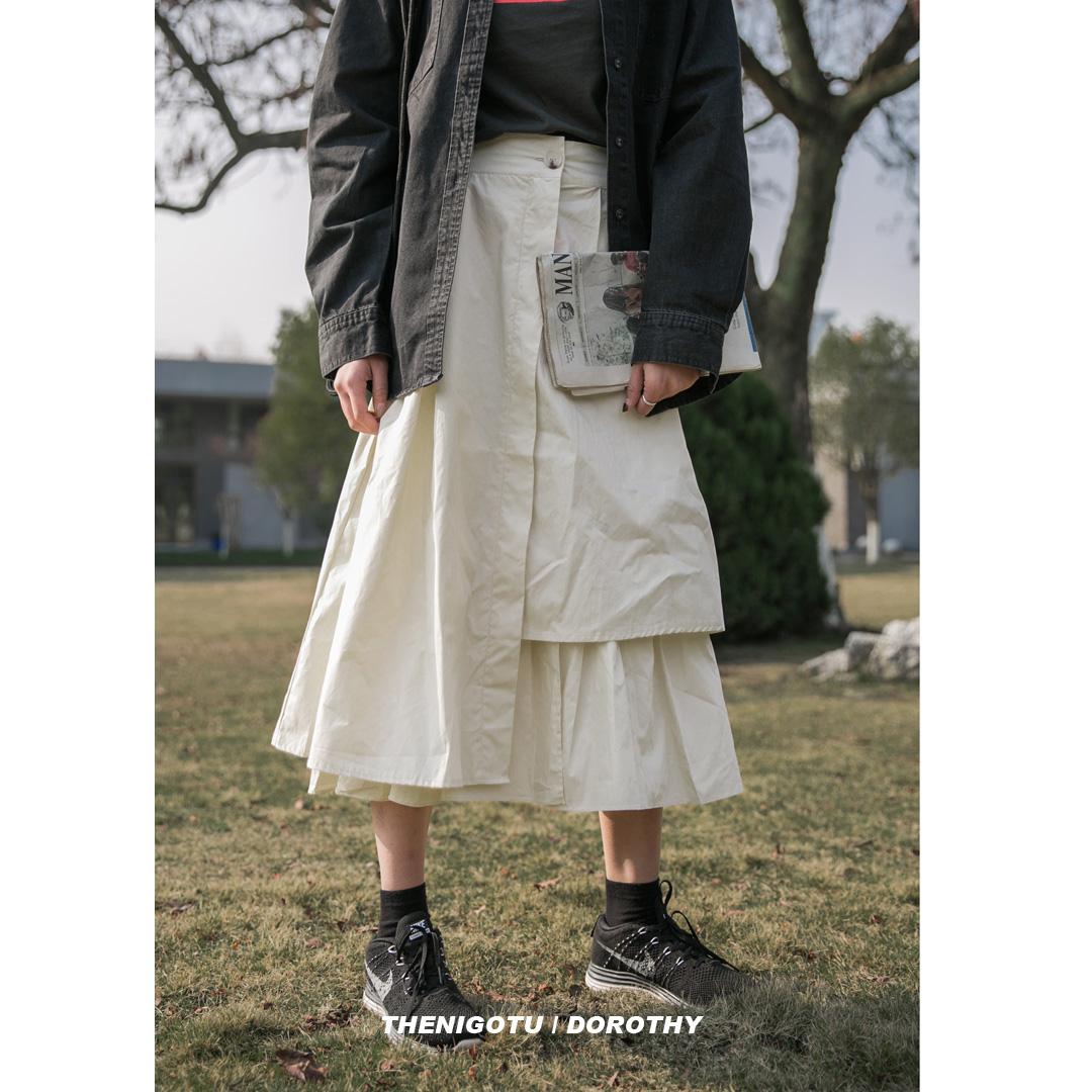 白色半身裙 中长款不规则白色半身裙女宽松A字工装高腰褶皱百搭黑色蛋糕裙潮_推荐淘宝好看的白色半身裙