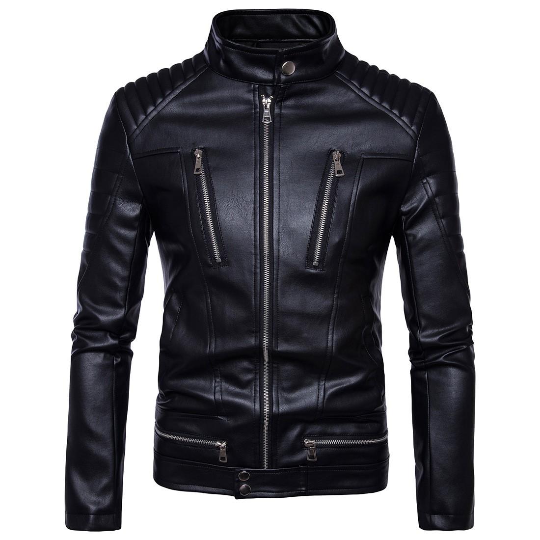男士朋克皮衣 大码  朋克男装机车多拉链皮衣摩托皮衣夹克外套Men's coat tops_推荐淘宝好看的男朋克皮衣
