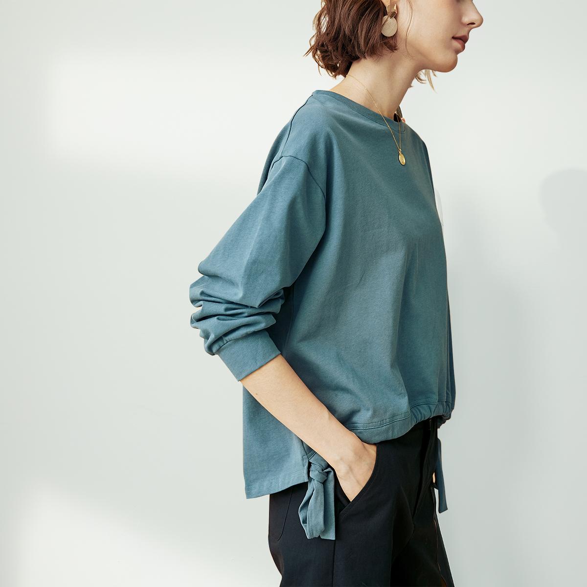 绿色卫衣 云上生活蓝绿色腰间系带宽松版长袖百搭减龄卫衣女春秋薄款V3555_推荐淘宝好看的绿色卫衣