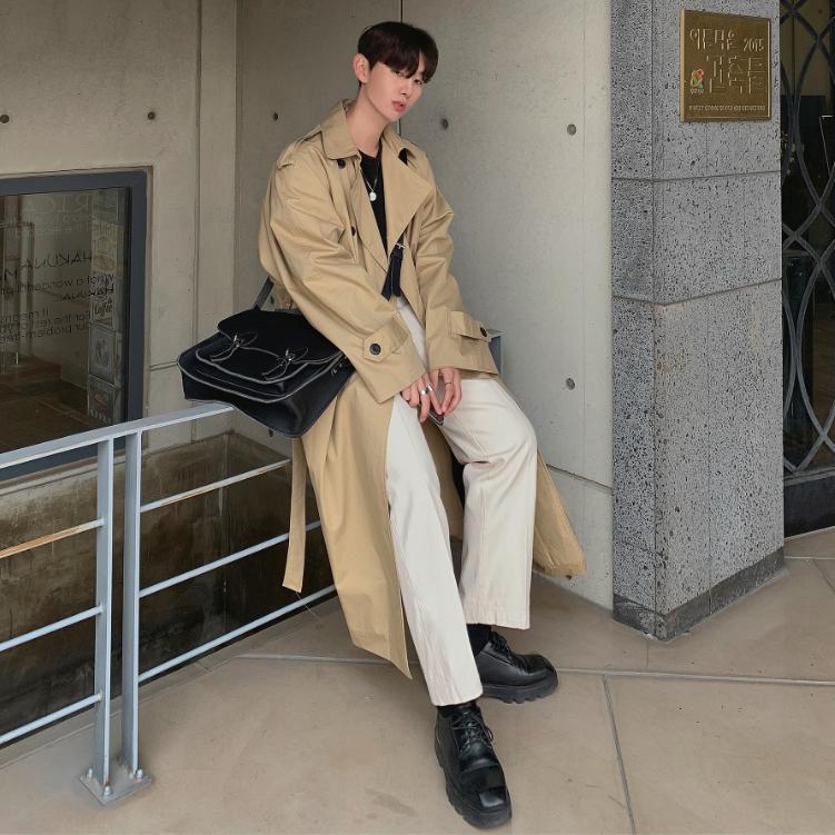 双排扣风衣 MRCYC 春季过膝帅气男士双排扣风衣韩版潮流中长款休闲大衣外套_推荐淘宝好看的双排扣风衣
