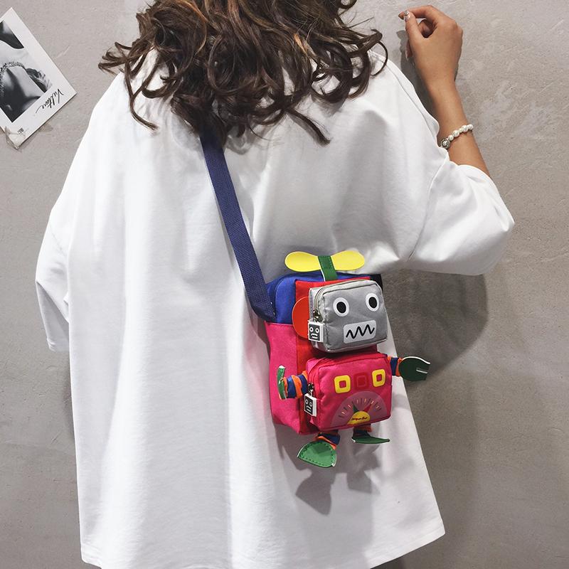 红色单肩包 卡通小包包女2019新款可爱玩偶单肩斜挎包潮韩版洋气搞怪机器人包_推荐淘宝好看的红色单肩包
