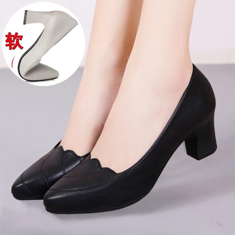 黑色单鞋 一字扣高跟鞋女粗跟妈妈鞋舒适软底中跟皮鞋工作鞋女黑色单鞋女鞋_推荐淘宝好看的黑色单鞋