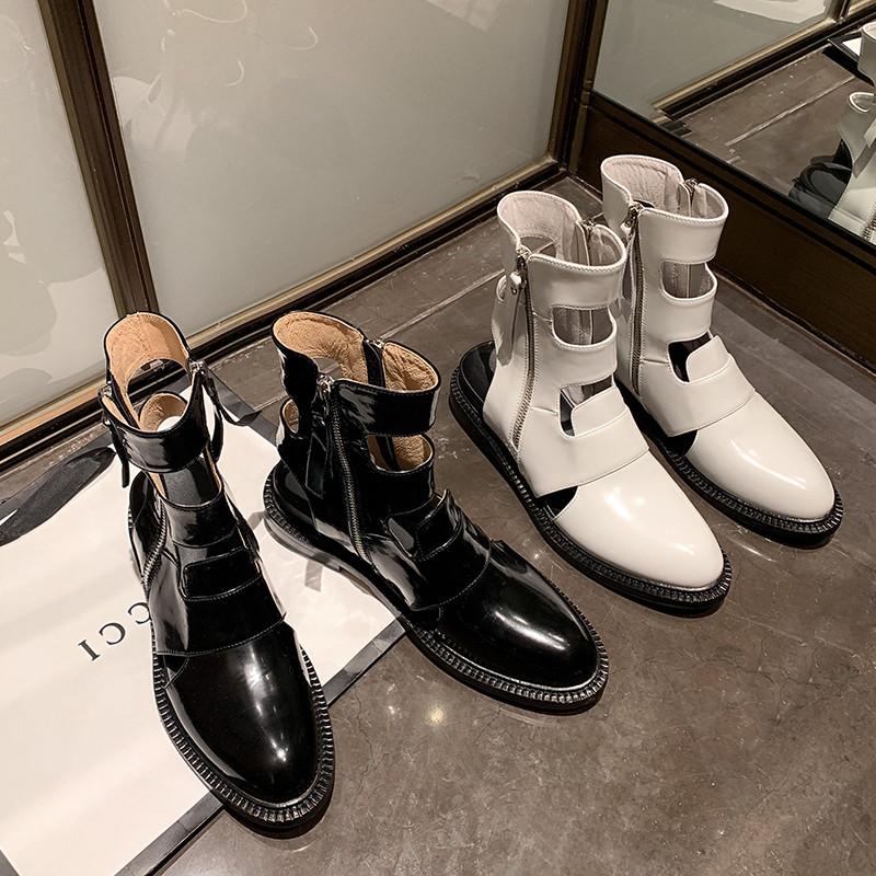 白色罗马鞋 复古粗跟凉鞋女2021春季新款包头罗马高帮凉靴镂空白色女鞋拉链潮_推荐淘宝好看的白色罗马鞋