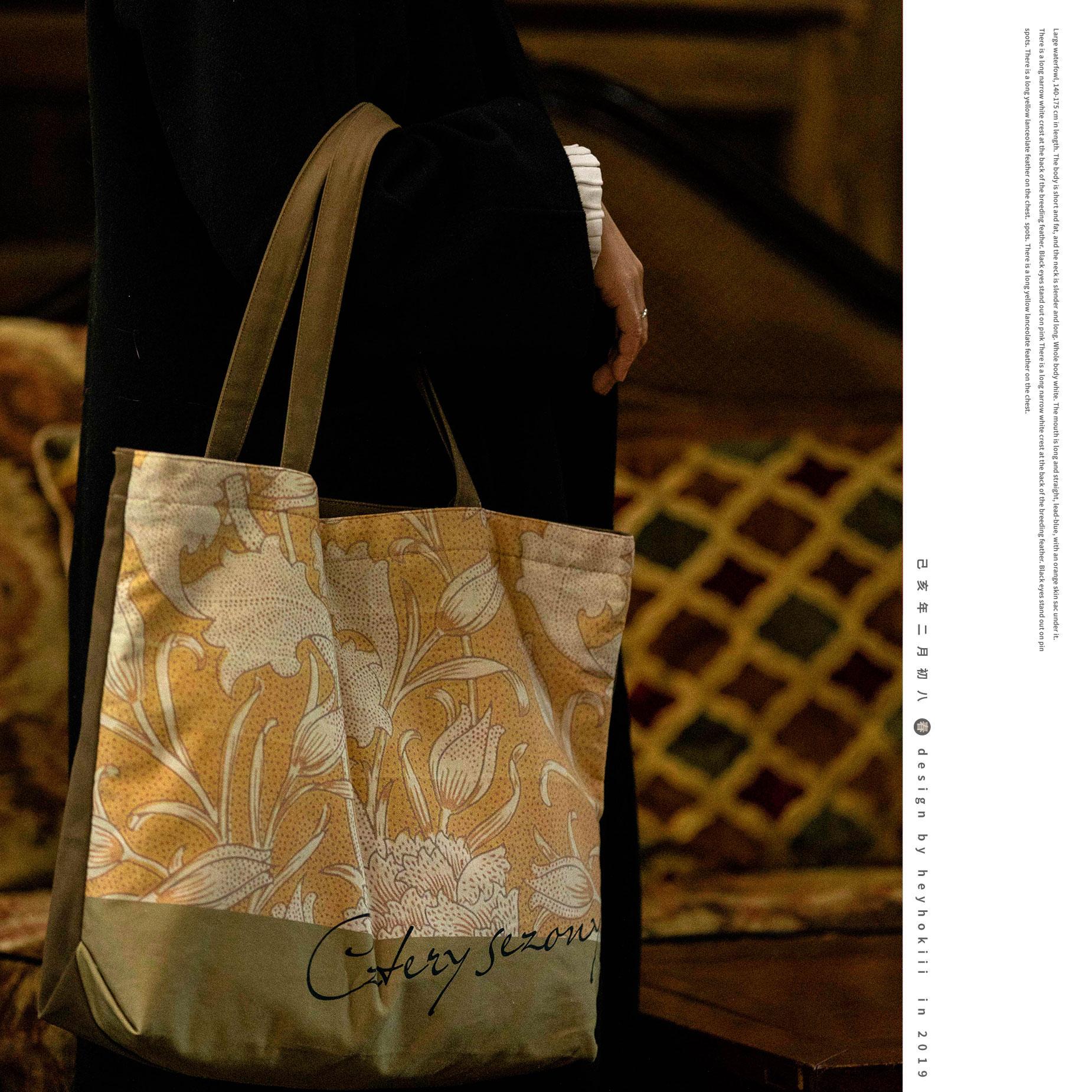 黄色手提包 何几原创设计新款2020包包女黄色帆布包女文艺复古单肩手提包_推荐淘宝好看的黄色手提包