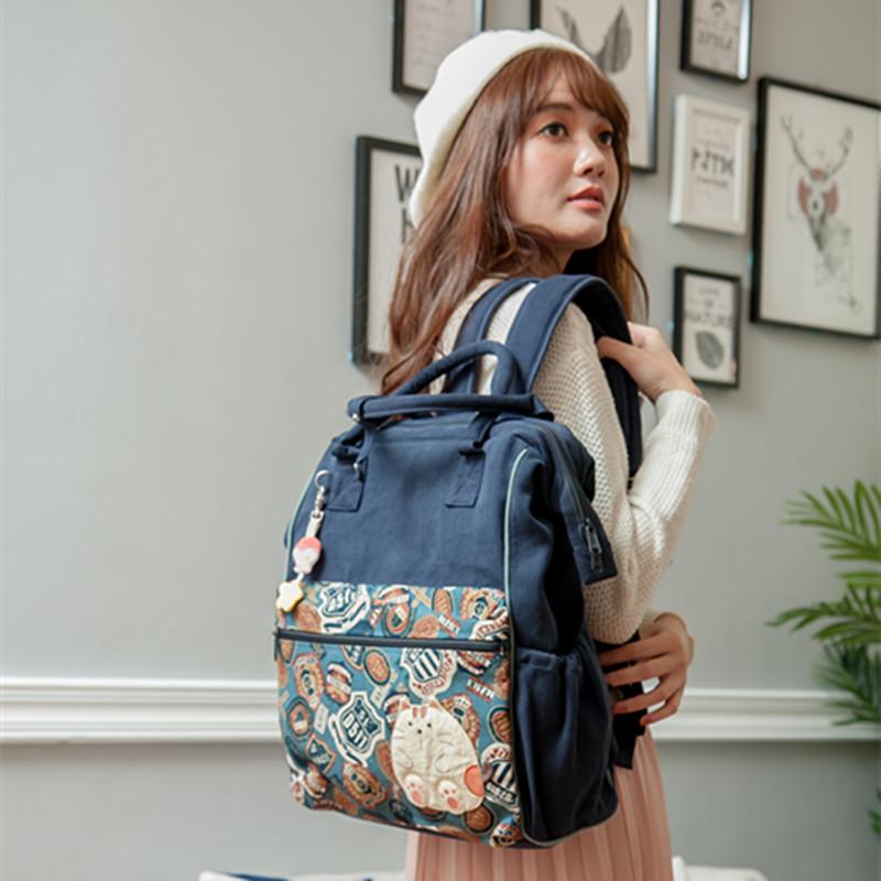 旅行帆布包 特!日本设计KINECAT 卡通猫咪女士帆布双肩包大中学生书包旅行包_推荐淘宝好看的女旅行帆布包