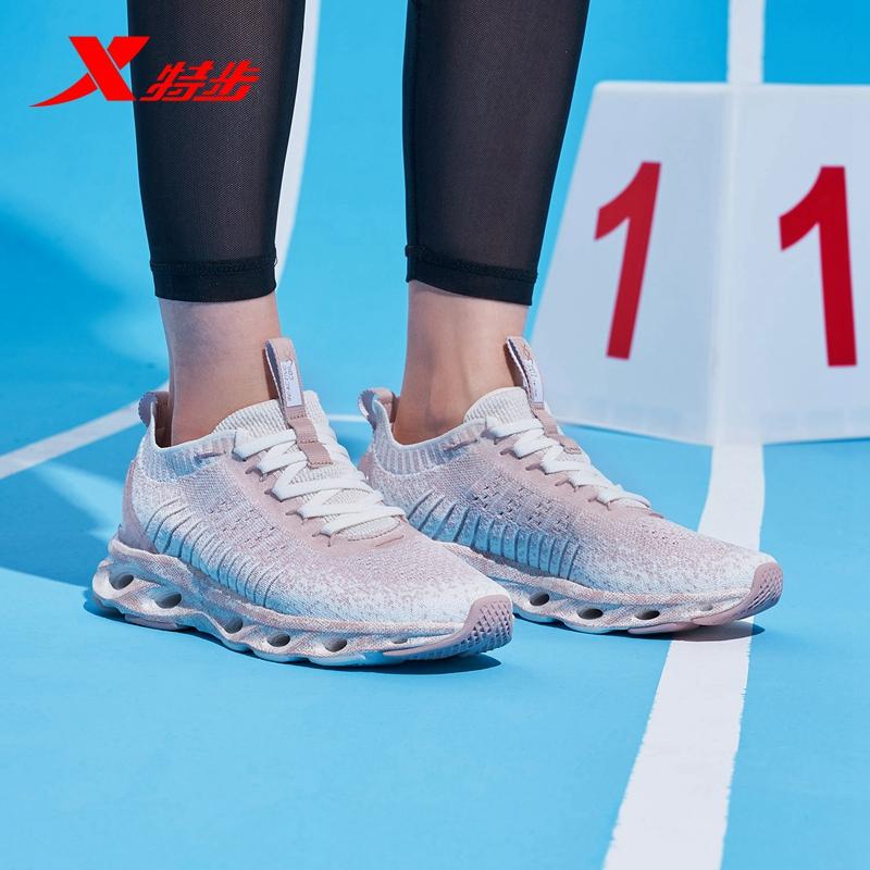 特步运动鞋 特步女鞋减震旋科技跑鞋2021夏季新款网面运动鞋透气飞织跑步鞋女_推荐淘宝好看的女特步运动鞋