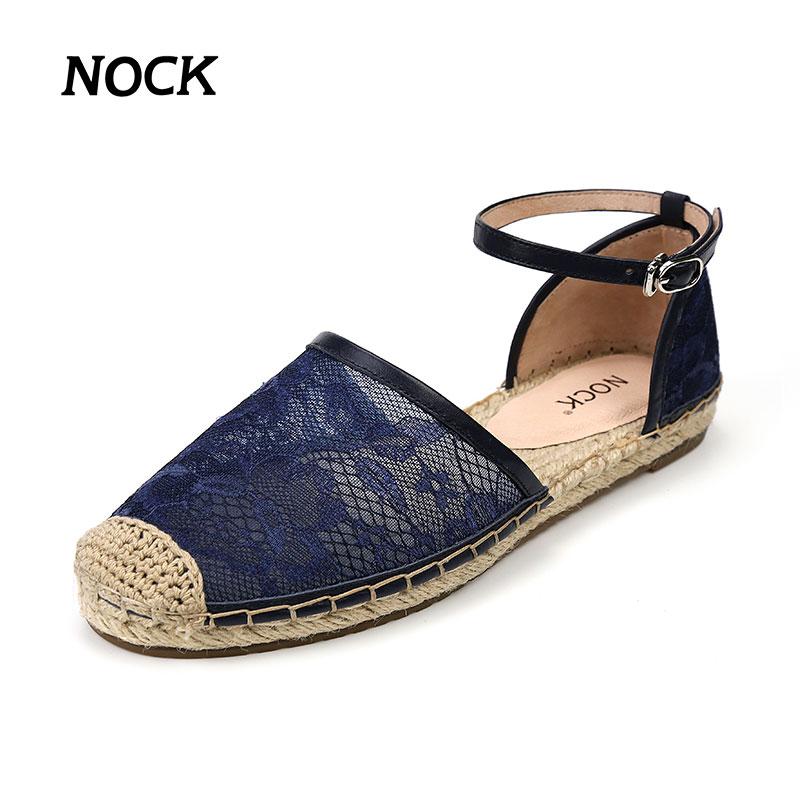 女凉鞋 NOCK品牌新款蕾丝草编平底渔夫鞋一字带女凉鞋舒适透气包头鞋子潮_推荐淘宝好看的女凉鞋
